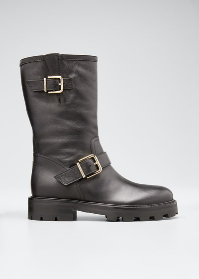 Rugged Leather Biker Boots