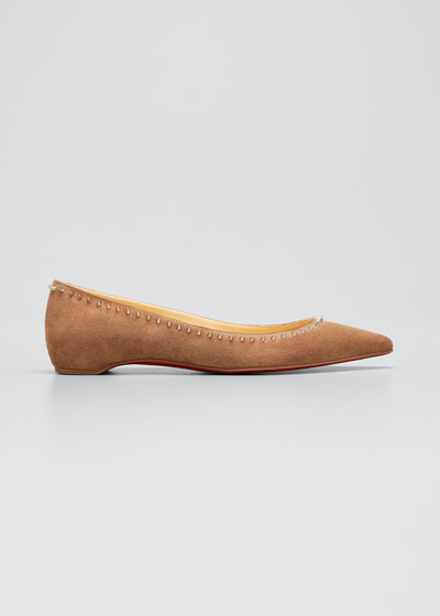 Anjalina Spiked Suede Red Sole Ballerina Flats