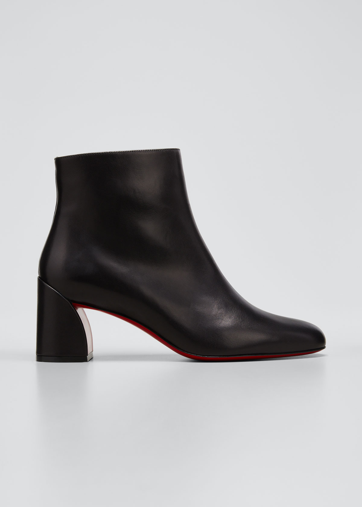 Christian Louboutin Boots TURELA LEATHER SIDE-ZIP RED SOLE BOOTIES