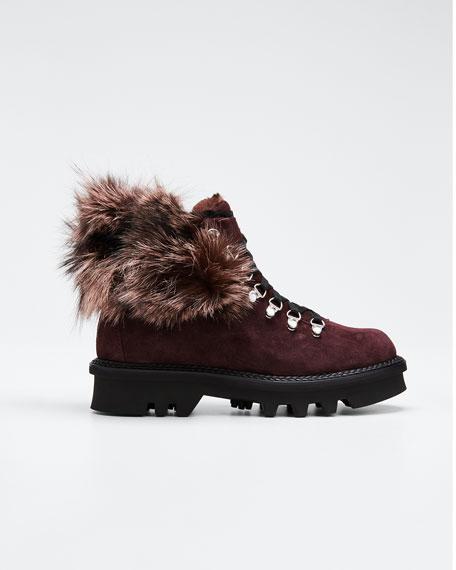 Aurora Suede Boots with Fox Fur Trim