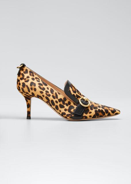 Leopard-Print Fur Loafer Pumps