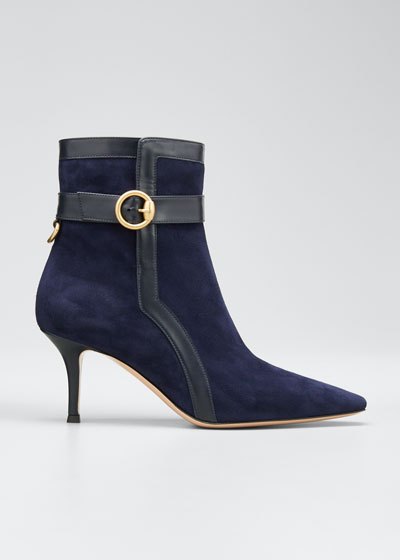 Suede and Leather Buckle Booties