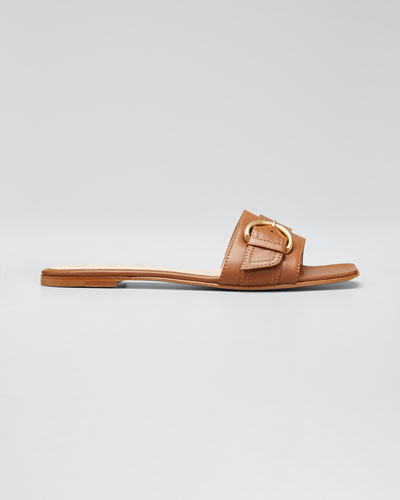Leather Buckle Slide Flat Sandals