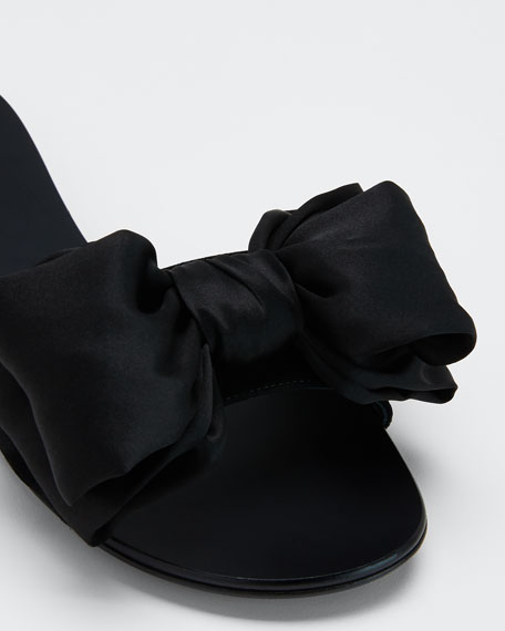 Satin Bow Slide Sandals