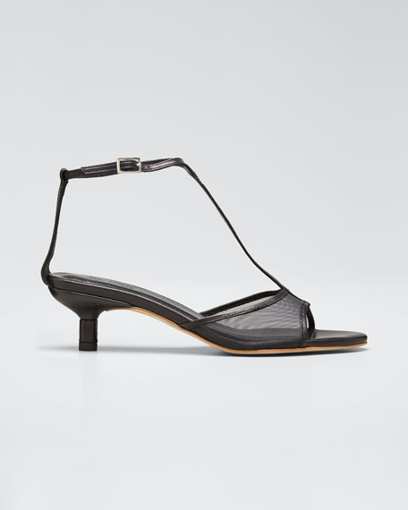 Leather and Mesh T-Strap Sandals