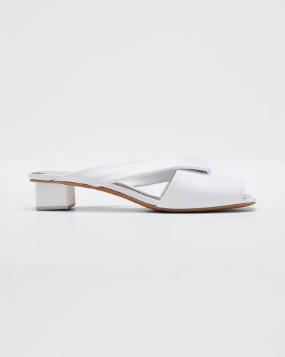 Loop Slide Leather Sandals  White