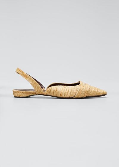 Tweed Slingback Ballerina Flats