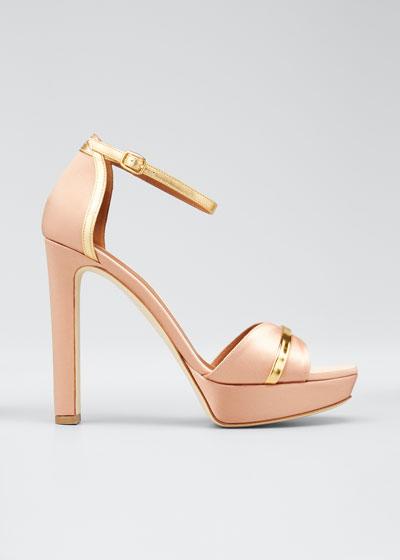 Miranda Satin Platform Ankle-Strap Sandals