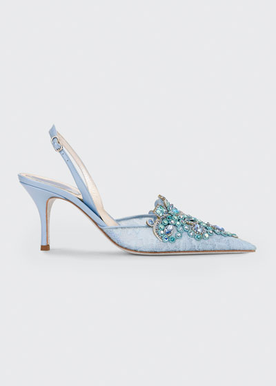 Veneziana Jeweled Lace Mid-Heel Pumps
