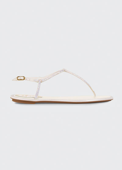 Shimmery Ankle-Strap Flat Thong Sandals