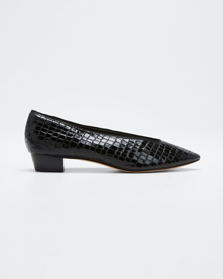 Image 1 of 1: Simone Croc-Embossed Flats