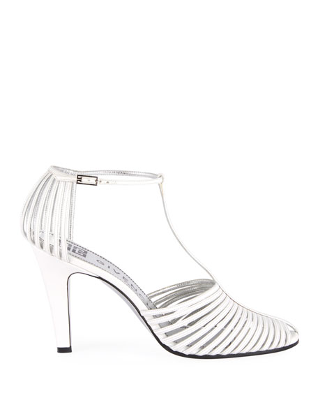 Caged Strappy Pumps, Off White