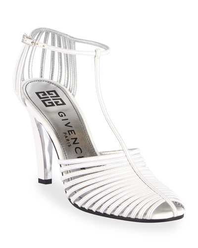 Caged Strappy Pumps  Off White