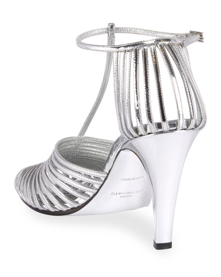 Caged T-Strap Pumps, Silver
