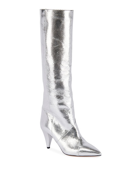 Laomi Metallic Leather Mid Boots