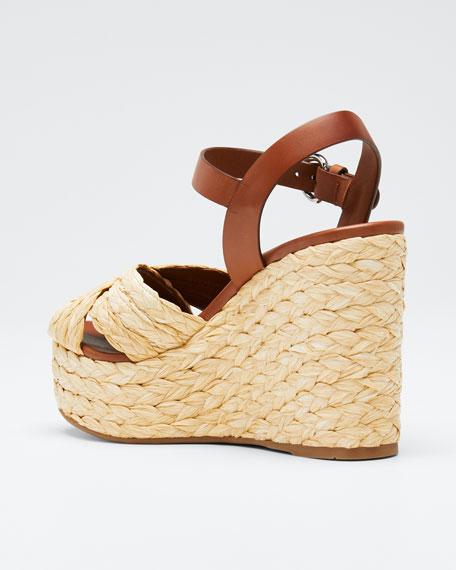 Crisscross Raffia Wedge Sandals