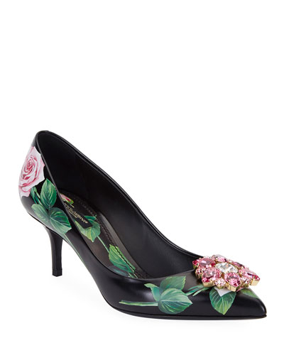 Floral Printed Leather Ornament Pumps