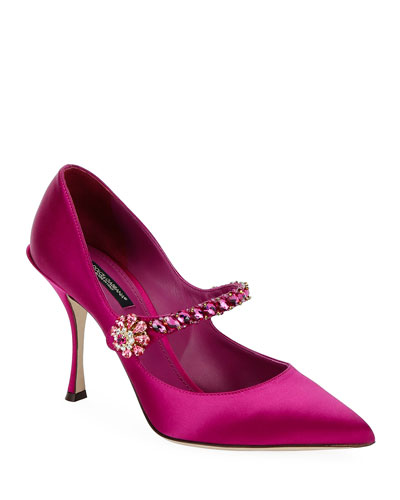 Satin Mary-Jane Jeweled Pumps