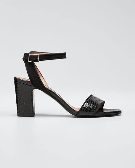Leticia Snake-Print Sandals