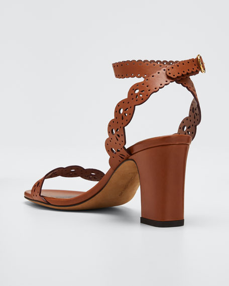 Bobbin Scallop Ankle Heeled Sandals