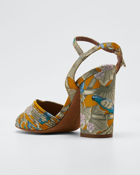 Kali Floral Block-Heel Sandals