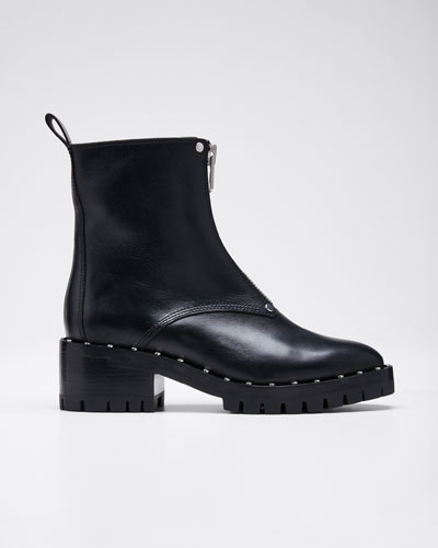 Hayett Studded Leather Front-Zip Booties