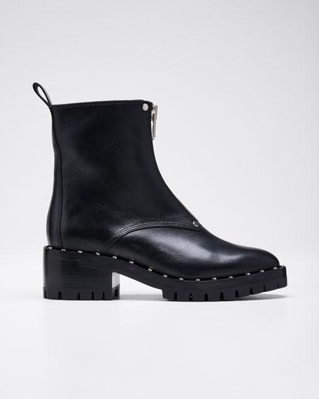 Hayett Studded Leather Front-Zip Booties