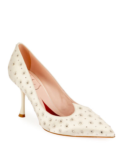 I Love Vivier Heart-Shape Twinkle Satin Pumps