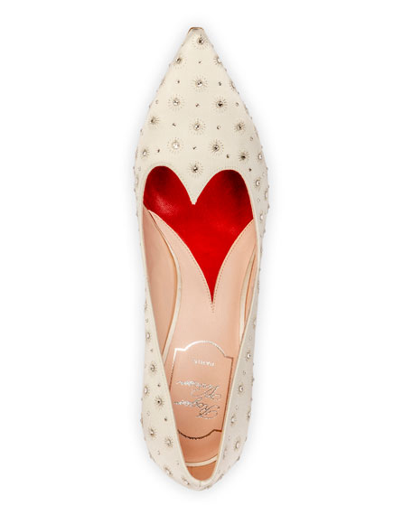 I Love Vivier Heart-Shape Twinkle Satin Pumps