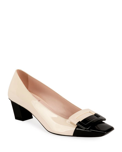 Belle Vivier 45mm Bicolor Patent Pumps