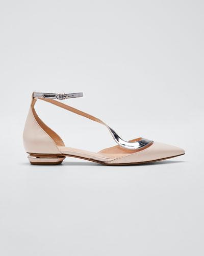 Asymmetric Metallic Ballet Flats