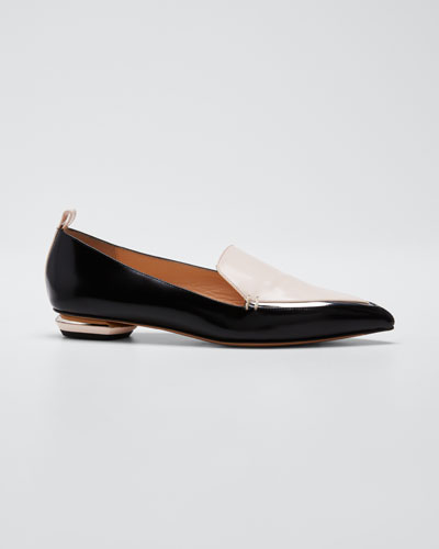 Beya Two-Tone Leather Loafers  Black/Pink