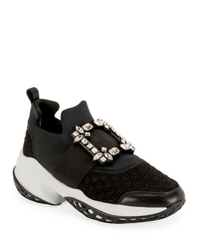 Viv' Run Stretch Crystal Buckle Sneakers