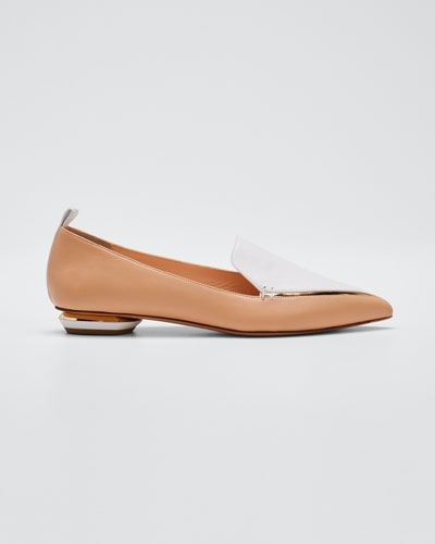 Beya Two-Tone Leather Loafers  Nude