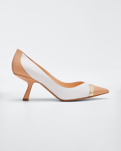 Lexi Colorblock Leather Pointed Pumps  Nude