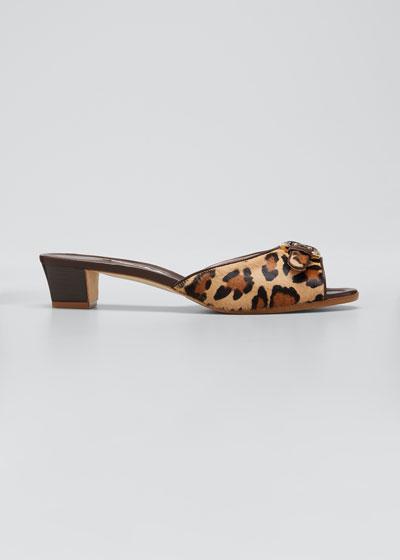 Jarra Leopard-Print Fur Slide Sandals