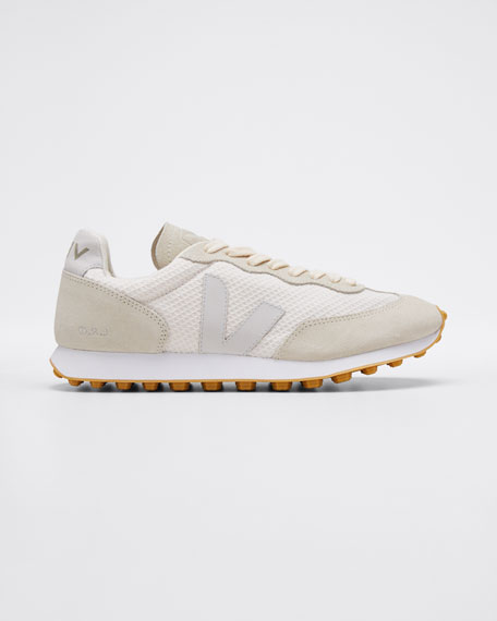 Suede and Mesh Runner Sneakers, Cream