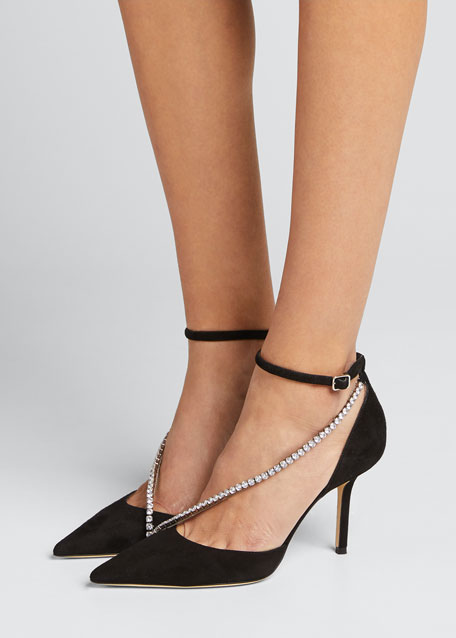 Talika Suede Pumps w/ Crystal Chain