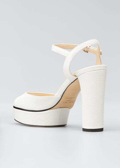 Peachy Lizard-Print Leather Platform Sandals