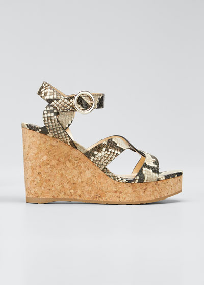 Aleili Snake-Print Leather Cork Wedge Sandals