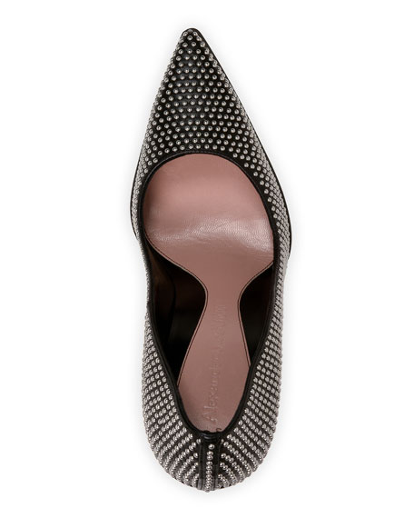 Leather Studded Pointed Pumps