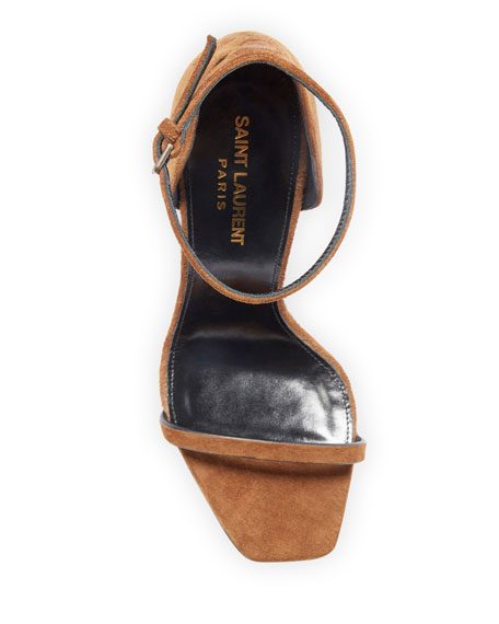 Opyum Suede YSL Logo-Heel Sandals