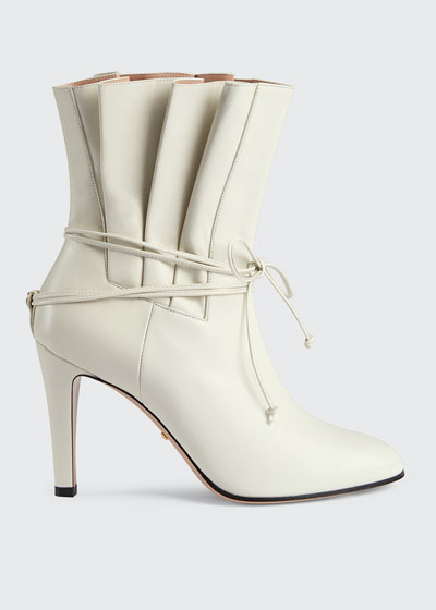 Indya 95mm Leather Pleated Tie Booties