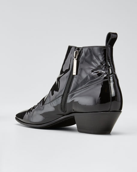 Belle Button-Side Patent Leather Bootie