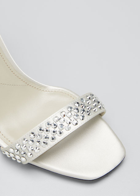 Shimmery Studded Ankle-Strap Sandals
