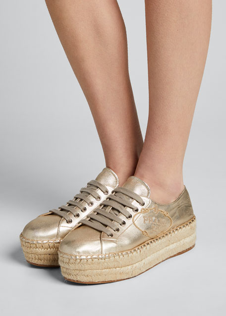 Logo Lace-Up Platform Espadrilles