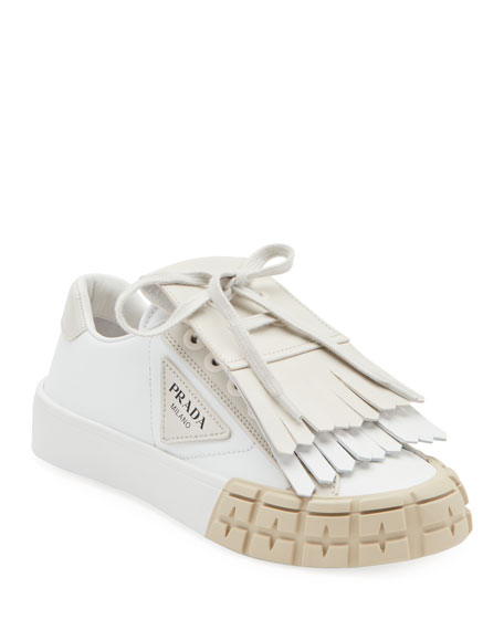 Leather Sneakers with Removable Kiltie