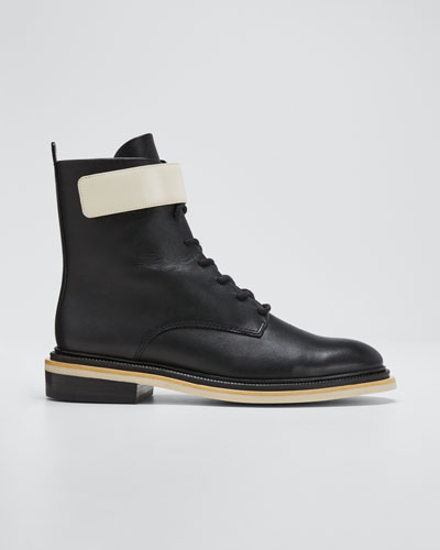 Renah Two-Tone Leather Combat Boots