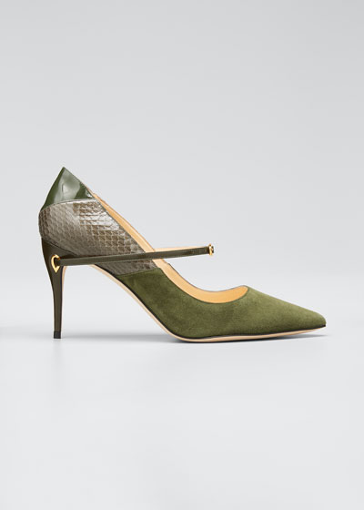Laurenzo Suede & Snakeskin Point-Toe Pumps