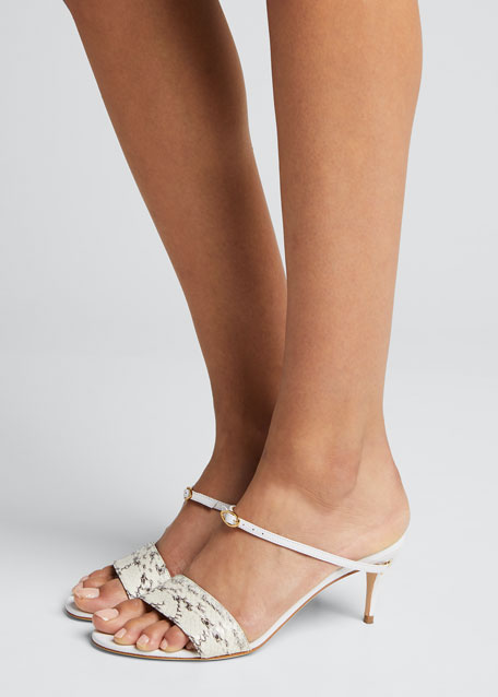 Andrea Snake/Leather Mule Sandals
